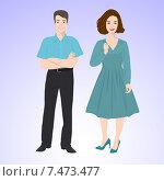 Молодой мужчина в голубой рубашке с короткими рукавами и девушка в платье ниже колена. Стоковая иллюстрация, иллюстратор Портнова Екатерина / Фотобанк Лори