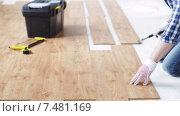 Купить «close up of man installing wood flooring», видеоролик № 7481169, снято 28 марта 2015 г. (c) Syda Productions / Фотобанк Лори