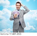 Купить «happy laughing businessman with euro money», фото № 7481653, снято 29 января 2015 г. (c) Syda Productions / Фотобанк Лори