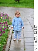 Купить «Портрет маленькой девочки около клумбы с тюльпанами в летнем парке», фото № 7482837, снято 15 мая 2015 г. (c) Володина Ольга / Фотобанк Лори