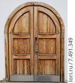 Купить «Старая деревянная дверь крупным планом», фото № 7491349, снято 16 августа 2014 г. (c) Алексей Кокоулин / Фотобанк Лори