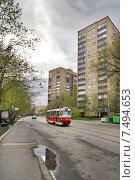 Купить «Город Москва, 3-й Самотёчный переулок, трамвай», эксклюзивное фото № 7494653, снято 2 мая 2015 г. (c) Dmitry29 / Фотобанк Лори