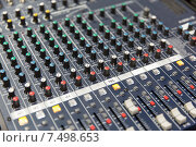 Купить «control panel at recording studio or radio station», фото № 7498653, снято 8 апреля 2015 г. (c) Syda Productions / Фотобанк Лори