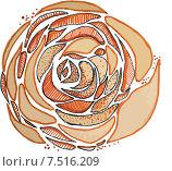 Оранжевая роза, графическая иллюстрация. Стоковая иллюстрация, иллюстратор Олеся Мороховец / Фотобанк Лори