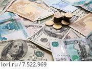 Купить «Монеты различных стран: доллары, евро, рубли», фото № 7522969, снято 8 ноября 2014 г. (c) Константин Колосов / Фотобанк Лори