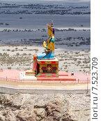 Купить «Гигантская статуя Будды Майтрейи в долине Нубра в Гималаях в Индии солнечным летним днём», фото № 7523709, снято 22 июня 2012 г. (c) Олег Иванов / Фотобанк Лори