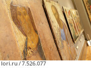 Купить «Икона Христа Спасителя в Третьяковке, автор Андрей Рублев», эксклюзивное фото № 7526077, снято 26 апреля 2015 г. (c) Дмитрий Неумоин / Фотобанк Лори