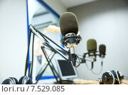Купить «microphone at recording studio or radio station», фото № 7529085, снято 8 апреля 2015 г. (c) Syda Productions / Фотобанк Лори
