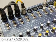 Купить «control panel at recording studio or radio station», фото № 7529089, снято 8 апреля 2015 г. (c) Syda Productions / Фотобанк Лори