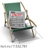 """Купить «Калькулятор с надписью """"5% discount"""" в шезлонге», иллюстрация № 7532781 (c) WalDeMarus / Фотобанк Лори"""