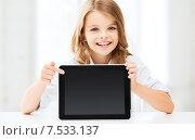 Купить «girl with tablet pc at school», фото № 7533137, снято 31 июля 2013 г. (c) Syda Productions / Фотобанк Лори