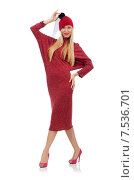 Купить «Pretty young woman in ruby dress isolated on white», фото № 7536701, снято 17 декабря 2014 г. (c) Elnur / Фотобанк Лори