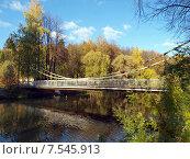 Уменьшенная копия Крымского моста на реке Пахре, парк в городе Троицке, Москва (2014 год). Редакционное фото, фотограф SevenOne / Фотобанк Лори