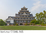 Купить «Главная башня (донжон) замка Окаяма (построен в 1597, реконструирован в 1966 г.). Национальный исторический объект Японии», фото № 7546165, снято 20 мая 2015 г. (c) Иван Марчук / Фотобанк Лори