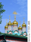 Купить «Купола и кресты церкви Святителя Николая в Хамовниках (Москва)», фото № 7551485, снято 27 мая 2015 г. (c) Александр Замараев / Фотобанк Лори