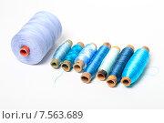 Купить «Катушки с голубыми нитками разной толщины лежат в ряд на белом фоне», эксклюзивное фото № 7563689, снято 14 июня 2015 г. (c) Яна Королёва / Фотобанк Лори