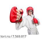 Купить «Man boxer isolated on white», фото № 7569817, снято 14 марта 2014 г. (c) Elnur / Фотобанк Лори