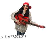 Купить «Woman guitar player isolated on white», фото № 7572317, снято 22 февраля 2015 г. (c) Elnur / Фотобанк Лори
