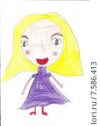 Детский рисунок - блондинка. Стоковая иллюстрация, иллюстратор Светлана Самаркина / Фотобанк Лори