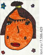 Портрет, детский рисунок. Стоковая иллюстрация, иллюстратор Светлана Самаркина / Фотобанк Лори