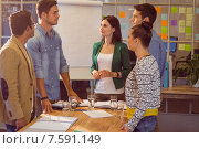 Купить «Business people during a meeting», фото № 7591149, снято 22 марта 2015 г. (c) Wavebreak Media / Фотобанк Лори