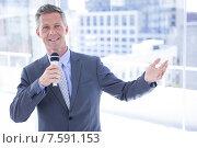 Купить «Businessman making a speech», фото № 7591153, снято 17 марта 2015 г. (c) Wavebreak Media / Фотобанк Лори