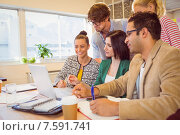 Купить «Happy creative business team using laptop in meeting», фото № 7591741, снято 22 марта 2015 г. (c) Wavebreak Media / Фотобанк Лори