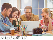Купить «Happy creative business team using laptop in meeting», фото № 7591817, снято 22 марта 2015 г. (c) Wavebreak Media / Фотобанк Лори