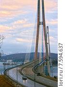 Купить «Подвесной вантовый мост с острова Русский», фото № 7594637, снято 3 апреля 2015 г. (c) Владимир Серебрянский / Фотобанк Лори