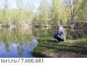 Женщина ловит рыбу на удочку. Стоковое фото, фотограф Игорь Ворожбитов / Фотобанк Лори