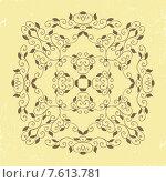 Винтажный растительный орнамент на желтом гранж фоне. Стоковая иллюстрация, иллюстратор Ирина Буракова / Фотобанк Лори