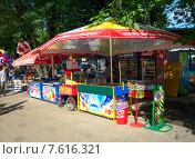 Купить «Лотки с мороженым и водой в Атажукинском парке Нальчика», фото № 7616321, снято 28 июня 2015 г. (c) KSphoto / Фотобанк Лори