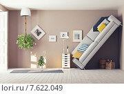 Купить «Странный интерьер гостиной. 3D», иллюстрация № 7622049 (c) Виктор Застольский / Фотобанк Лори