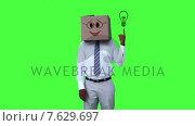 Happy anonymous businessman with box on head and pointing cartoon light bulb. Стоковое видео, агентство Wavebreak Media / Фотобанк Лори