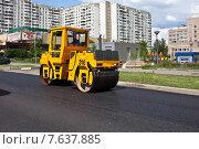 Купить «Дорожные работы. Укладка асфальта в городе», фото № 7637885, снято 2 июля 2015 г. (c) Victoria Demidova / Фотобанк Лори