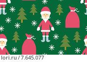 Бесшовный фон с Санта Клаусом в лесу. Стоковая иллюстрация, иллюстратор Рада Коваленко / Фотобанк Лори