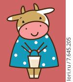 Корова с ведерком молока. Стоковая иллюстрация, иллюстратор Рада Коваленко / Фотобанк Лори