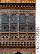 Architectural detail of the windows at Punakha Dzong, Punakha, Bhutan (2010 год). Стоковое фото, фотограф Keith Levit / Ingram Publishing / Фотобанк Лори