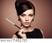 Купить «Portrait of beautiful sensual woman with elegant hairstyle», фото № 7652721, снято 19 октября 2014 г. (c) Ingram Publishing / Фотобанк Лори