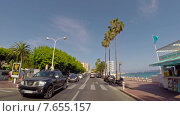 Купить «Вид из автомобиля на улицу вдоль побережья в Каннах, Франция», видеоролик № 7655157, снято 9 ноября 2014 г. (c) Алексас Кведорас / Фотобанк Лори