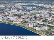 Вид сверху на город Нижневартовск и реку Обь (2015 год). Стоковое фото, фотограф Владимир Мельников / Фотобанк Лори