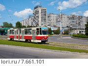 Купить «Калининградский трамвай», фото № 7661101, снято 17 октября 2018 г. (c) Сергей Куров / Фотобанк Лори
