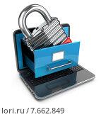 Купить «Data security concept. Laptop, archive and lock.», иллюстрация № 7662849 (c) Maksym Yemelyanov / Фотобанк Лори