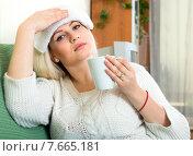 Купить «Woman feeling sick», фото № 7665181, снято 16 октября 2018 г. (c) Яков Филимонов / Фотобанк Лори