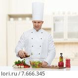 Купить «happy male chef cook cooking food», фото № 7666345, снято 7 марта 2015 г. (c) Syda Productions / Фотобанк Лори