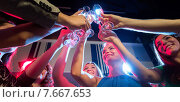 Купить «smiling friends with glasses of champagne in club», фото № 7667653, снято 20 октября 2014 г. (c) Syda Productions / Фотобанк Лори