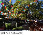 Купить «Яркие разноцветные флажки в китайском саду», фото № 7669793, снято 1 ноября 2014 г. (c) Василий Кочетков / Фотобанк Лори