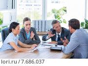 Купить «Business people speaking together during meeting», фото № 7686037, снято 17 марта 2015 г. (c) Wavebreak Media / Фотобанк Лори
