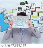 Купить «Composite image of businessman holding blank sign in front of his head», фото № 7689177, снято 25 марта 2019 г. (c) Wavebreak Media / Фотобанк Лори