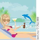 Купить «Sexy beach girl near sea water», иллюстрация № 7702989 (c) PantherMedia / Фотобанк Лори